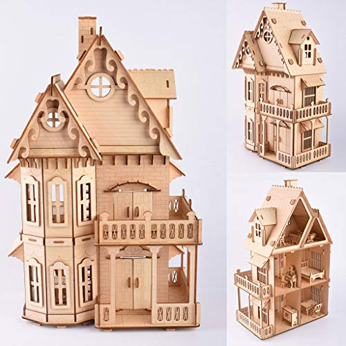 3D Assembly Wooden PuzzleGenamis Chalet Wood Model Puzzles KitsDIY Hand Craft Mechanical Game ToyMechanical Toys Gift for Teens and Adults