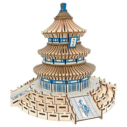 ZK 3D Wooden Puzzle Kit Assembly DIY Education Toy Temple of Heaven Model Craft Construction Puzzles for Kids Children Teens Youth Teenage
