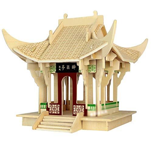Drunken Pavilion – 3D Wooden Puzzle House Building Model Kit DIY Laser-Cut Craft Jigsaw Assembly Toy Gift for Children Teens Adult