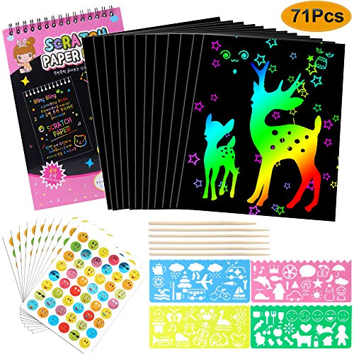 Hicdaw 71Pcs Scratch Paper Art Set for Rainbow Off Painting Notes with Drawing Stencils and Wooden Stylus Kids Crafts Kit Supplies