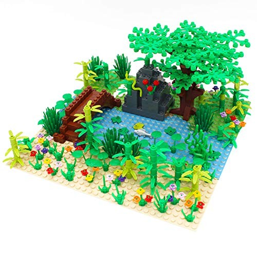 Forest Garden Building Blocks Parts Rainforest Plants Tree Flowers Bricks Scenery Accessories Jungle Set Educational Toys Compatible with All Major Brands 1pcs 10×10 Baseplate