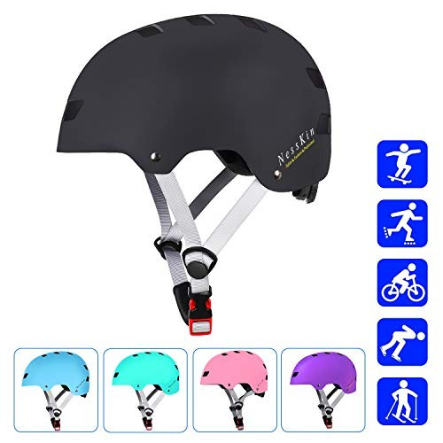 NESSKIN Skateboard Helmet with CPSC and ASTM CertifiedKids-Youth-Adults Roller Skating Skateboarding Cycling Scooter Rollerblading