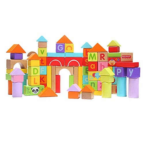 70 Wooden Building Block Toys Puzzle Learning and Early Education Alphabet Color Recognition Px