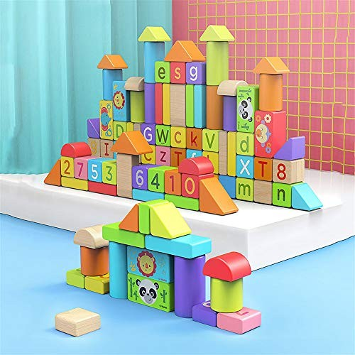 Educational Toys Wooden Building Block Early Education Stacking Letters Color Learning 70 PCS Px