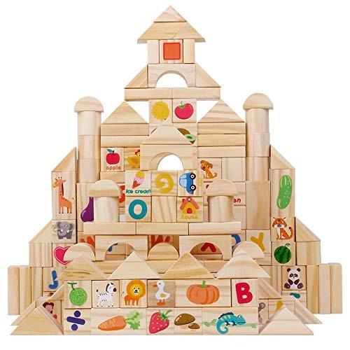 CCM 110Pcs Wooden Building Blocks Stacked Alphanumeric Fruit Animal Assembling Puzzle Kids Children Educational Toys PxB