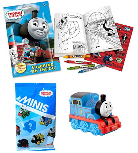 AF New Thomas The Tank Engine Busy-Day & Travel Fun Bundle Includes Friends Fisher-Price My First Bath Squirter Thomas Coloring On Go Activity Set with Free Bonus One MINIS Pack