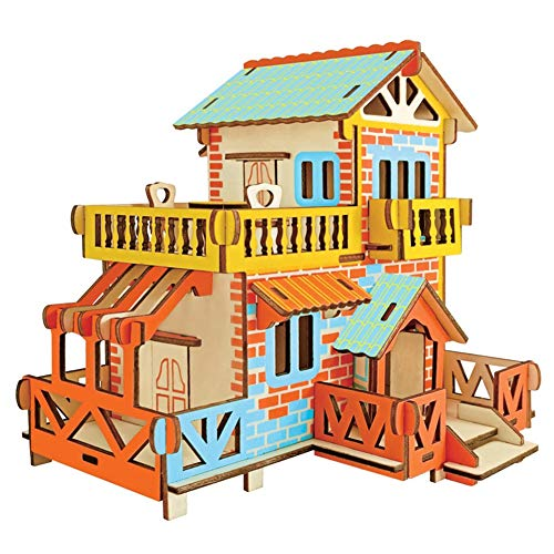 ZUZZEE 3D Wooden Puzzle DIY Model Cut Toy Crafts Kits Creative Gift for Kids Pink