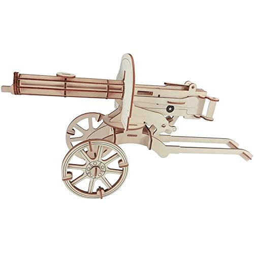 ZYK 3D Puzzles for Adults Wooden Laser Engraving DIY Safe Assembly Heavy Machine Gun Model Kit Kids Teens and Models Self-Assembly Wood Crafts Puzzle Gifts