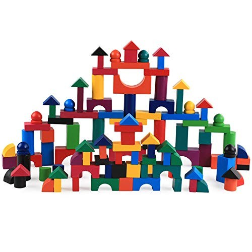 CCM Children Educational Stacking Toys 112 Pieces Set of Small Wooden Blocks Building Games Set PL