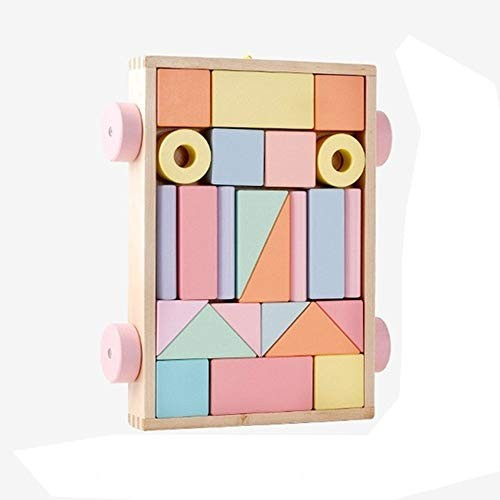 Educational Toys Children's Wooden Building Blocks Set Early Education Stacking Natural Pine Craft PxPink