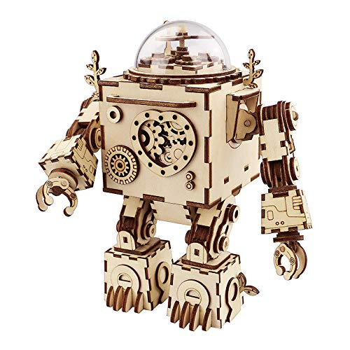 3D Assembly Wooden PuzzleGenamis Robot Wood Model Puzzles KitsDIY Hand Craft Mechanical Game ToyMechanical Toys Gift for Teens and Adults