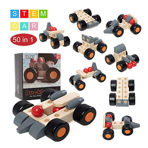 STEM Toys Kit 50 in 1 Educational Construction Engineering Building Blocks Learning Set 22 Pieces DIY Creative Games & Fun Activity Wooden Block for
