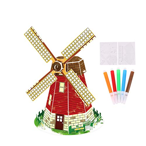 3D Assembly Wooden PuzzleGenamis Dutch Windmills Wood Model Puzzles KitsDIY Hand Craft Mechanical Game ToyMechanical Toys Gift for Teens and Adults