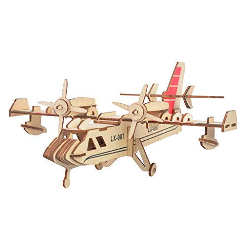 3D Assembly Wooden PuzzleGenamis Fighter Plane Wood Model Puzzles KitsDIY Hand Craft Mechanical Game ToyMechanical Toys Gift for Teens and Adults