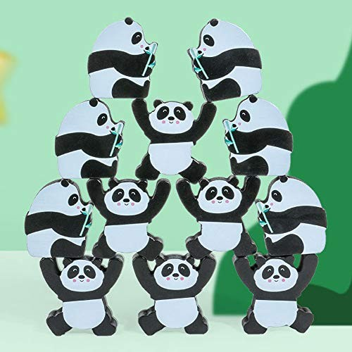 ocijf179 12Pcs Kid Cute Panda Wooden Building Blocks Stacking Game Interactive Puzzle ToyPerfect Training Children's Intelligence Gifts