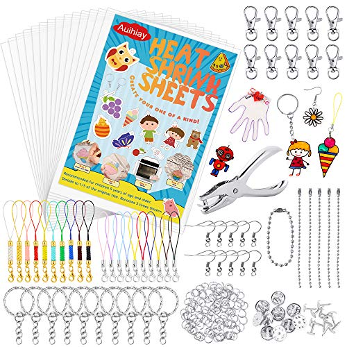 Auihiay 221 Pieces Clear Shrink Plastic Kit Include 20 Shrinky Art Paper Hole Punch and Keychains Accessories for Kids Creative Craft
