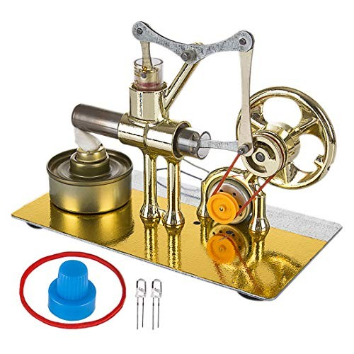WOLFBSUH Hot Air Stirling Engine Solid Metal Construction Electricity Generator Model Building Kit STEM Hobby Toy for Kids & Adults