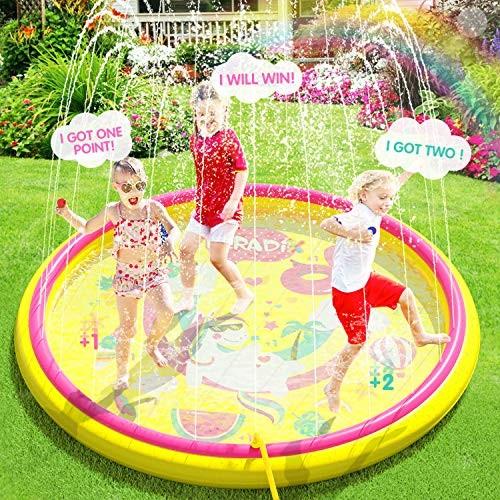 Inflatable Splash Pad Sprinkler for Kids Toddlers Kiddie Baby Padding Pool Outdoor Games Water