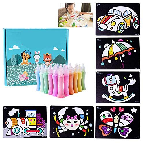 FQMAO Children's Sand Art Make Activity Multi Coloured Your Own Craft Kit Children DIY Painting KitB