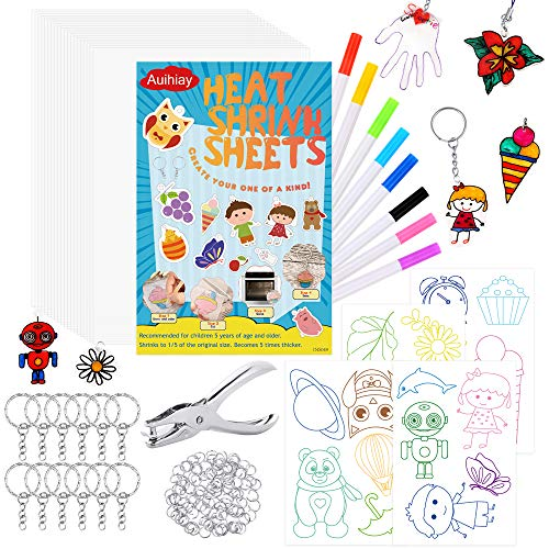 Auihiay 153 Pieces Clear Shrink Plastic Kit Include 20 Shrinky Art Paper 4 Tracing Sheets Hole Punch and Keychain Accessories for DIY Ornaments or Creative Craft