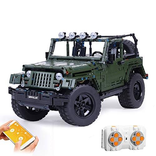 WOLFBSUH Race Car Jeep Wrangler Adventurer Building Set STEM Toy 2078Pcs 1 8 24G RC Blocks and Engineering Sports Model