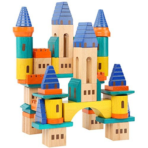 Wooden Building Blocks Construction Toys with Bright Color & Various Shapes Stacking from 18 Months DIY Early Educational Block for Toddlers 69PCS