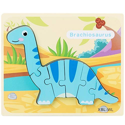 N2 jikaixiang Early Childhood Education Puzzle Kids 3D Dinosaur Wooden Building Block Jigsaw Intelligent Educational Toy WL#