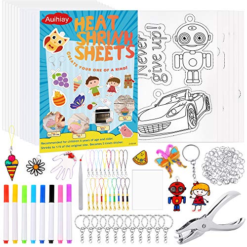 Auihiay 169 Pieces Heat Shrink Plastic Kit Include 12 Blank Shrinky Art Paper 6 Patterned Films Hole Punch Pendant and Jewelry Accessories for DIY Ornaments or Creative Craft