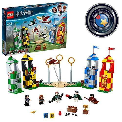 LEGO 75956 Harry Potter Quidditch Match Building Set Gryffindor Slytherin Ravenclaw and Hufflepuff Towers Toy Gifts Renewed