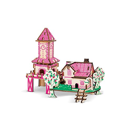 Pink Hut Cathedral Wooden Model DIY 3D Puzzle Kit Craft Toy Gift Suitable for Teenagers and Adults Aged 4 Over