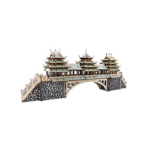 Wind and Rain Bridge Wooden Model DIY 3D Puzzle Kit Craft Toy Gift Suitable for Teenagers Adults Aged 8 Over