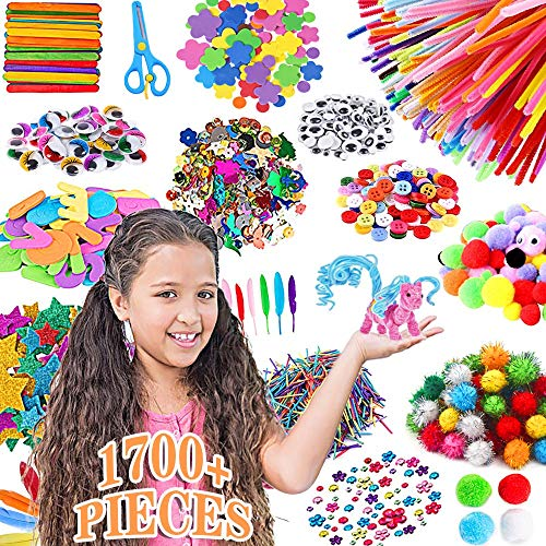 Arts and Crafts Supplies for Kids1700+ Piece Giant DIY Art Craft Kit Kids Toddlers Age 4 5 6 7 8 9