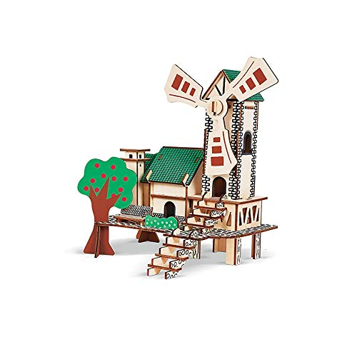 Green Sunny House Wooden Model DIY 3D Puzzle Kit Craft Toy Gift Suitable for Teenagers and Adults Aged 4 Over
