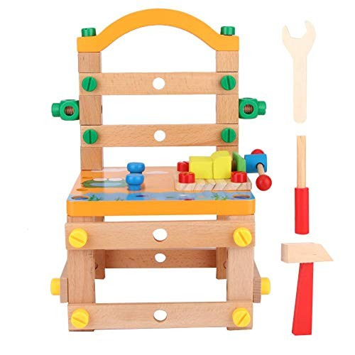 Tnfeeon Kid Assembling Chair Toy 2-in-1 DIY Wood Building Blocks Colorful Educational Wooden Toys