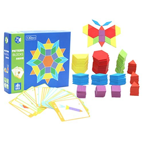 1 Set 170pcs Wooden Pattern Blocks Jigsaw Puzzle Toys Building Montessori Tangram for Kids Toddler Assorted Color