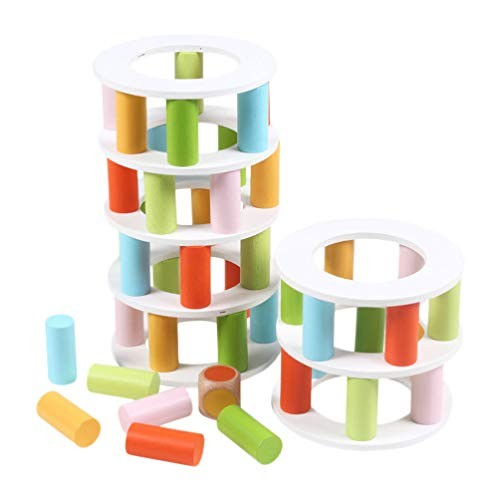 NUOBESTY Wooden Stacking Tower Game Building Balance Blocks Kids Stackable Toys Fine Motor Skill Educational Toy for Adults Parent-Child Interaction