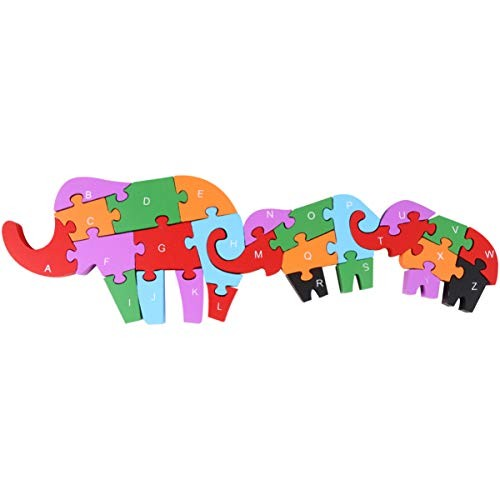 1PC Wooden Alphabet Jigsaw Puzzle Building Blocks Educational Toys for Kids Mother Son Elephant Style