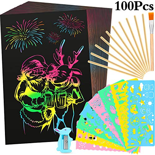 Outus 100 Pieces Scratch Paper Art Craft Rainbow Magic Off 72 x 5 Inch with 10 Bamboo Pens 8 Templates and More for DIY Decorations Kit Birthday Christmas