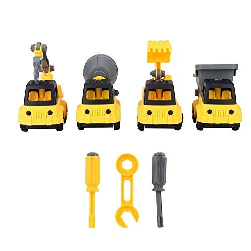 Worii Engineering Vehicle Toy 4pcs Model DIY Children Educational Assemble Car Toys Kids Construction Ideal Gift for Preschoolers 4pcs
