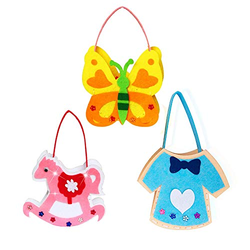 Souarts 3Pcs Sewing Kit for Kids Style Pouches DIY Craft Crafts Colorful Preschool Educational Stem Toys