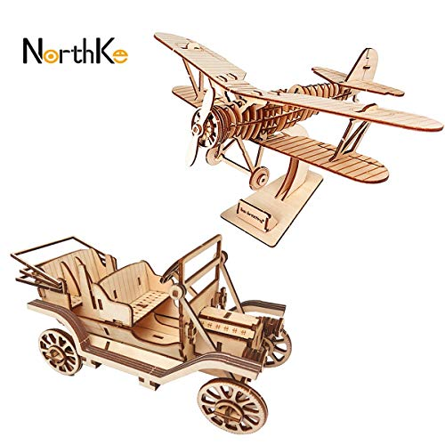 NorthKe 3D Wooden Puzzle Kits DIY Model Craft Toys Gifts for Kids Adults and Teens – Biplane Classic Car