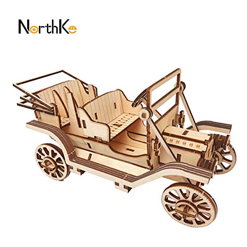NorthKe 3D Wooden Puzzle Kits DIY Model Craft Toys Gifts for Kids Adults and Teens – Classic Car