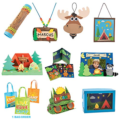 Kids Craft Kits 9 Complete DIY Arts and Crafts Projects with Tote – Camping Outdoor Adventure Theme Family Homeschool Preschool Curriculum Educational Hands-On Learning Stay at Home Fun