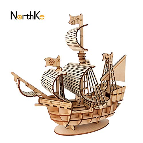 NorthKe 3D Wooden Puzzle Kits DIY Model Craft Toys Gifts for Kids Adults and Teens – Sailboat