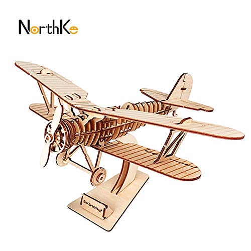 NorthKe 3D Wooden Puzzle Kits DIY Model Craft Toys Gifts for Kids Adults and Teens – Biplane