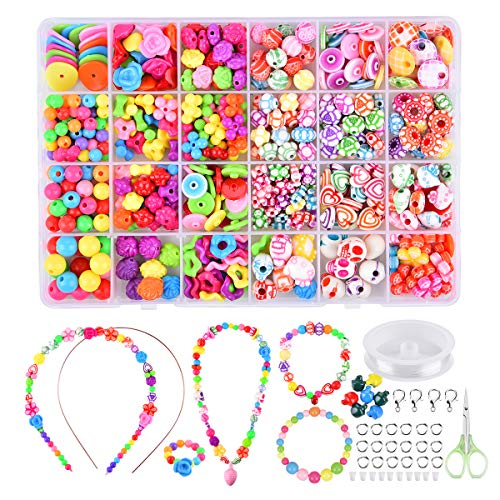 Funkprofi Children DIY Beads Set for KidsCute BraceletsNecklace Hair Hoop and Ring Kids Jewelry Crafts with 24 Different Shapes ColorsToys Girls Age 4 5 6 7 8