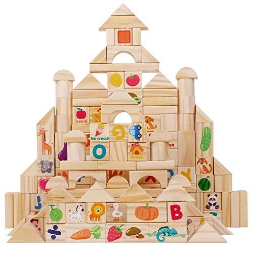 110 Piece Set Wooden Building Blocks Digital Alphabet Animal Fruit Shape Color Education DIY Toy Mathematics English Game PL