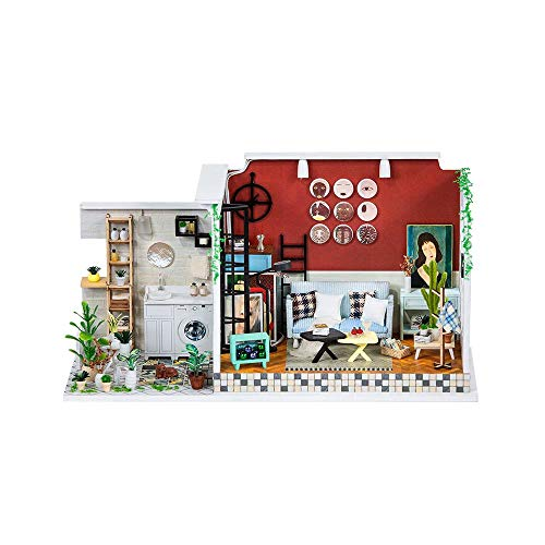 WDSFT Miniature DIY Dollhouse Kits 3D Wooden House Room Craft with Furniture for Children's Day Gift
