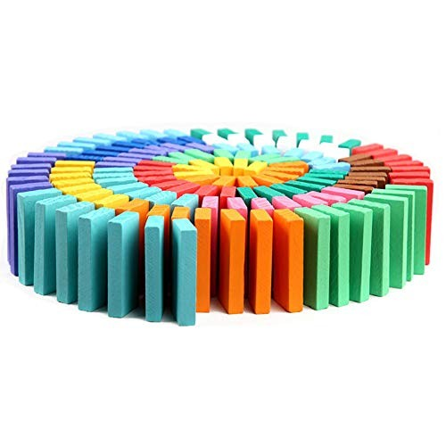 xINYU Colorful Wooden Domino Building Block Set Children's Game Educational Toys Personalized Gifts for Children Parent-Child Interactive