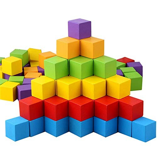 100Pcs 3CM Arithmetic Wooden Cubes Stacking Building Blocks Toy Color and Geometric Shape Educational Toys for Children PL